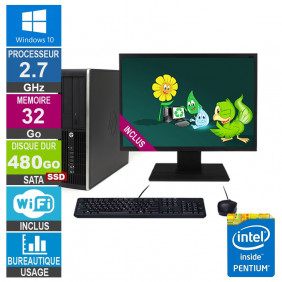 PC HP Elite 8200 SFF G630 2.70GHz 32Go/480Go SSD Wifi W10 + Ecran 24