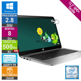 "13"" HP EliteBook 1030 G1 2.8GHz 8Go/500Go SSD W10 AZERTY FR Rétro QHD+ Tactile"