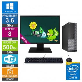 PC Dell 7020 SFF i5-4570 3.60GHz 8Go/500Go Wifi W10 + Ecran 22
