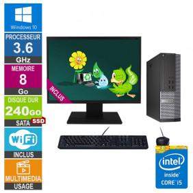 PC Dell 7020 SFF i5-4570 3.60GHz 8Go/240Go SSD Wifi W10 + Ecran 22