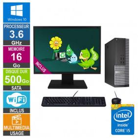 PC Dell 7020 SFF i5-4570 3.60GHz 16Go/500Go Wifi W10 + Ecran 24