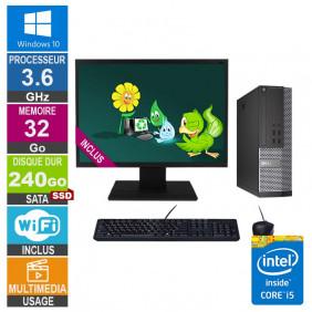 PC Dell 7020 SFF i5-4570 3.60GHz 32Go/240Go SSD Wifi W10 + Ecran 24