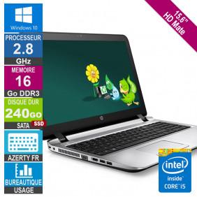 "15.6"" HP ProBook 450 G3 i5-6200U 2.78GHz 16Go/240Go SSD W10 AZERTY FR Rétro"