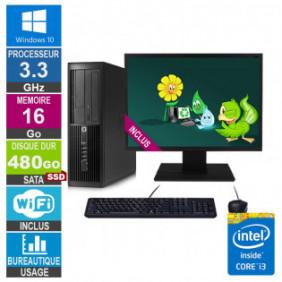 PC HP Pro 4300 SFF i3-3220 3.30GHz 16Go/480Go SSD Wifi W10 + Ecran 22