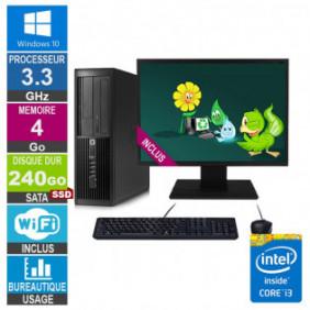PC HP Pro 4300 SFF i3-3220 3.30GHz 4Go/240Go SSD Wifi W10 + Ecran 24