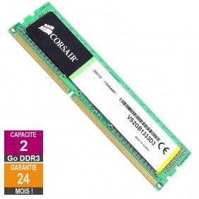 Barrette Mémoire 2Go RAM DDR3 Corsair VS2GB1333D3 DIMM PC3-10600U 1333MHz 1Rx8