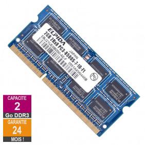 Barrette Mémoire 2Go RAM DDR3 Elpida EBJ21UE8BDS0-AE-F SO-DIMM PC3-8500 1066MHz 2Rx8