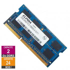 Barrette Mémoire 2Go RAM DDR3 Elpida EBJ21UE8BDS1-DJ-F SO-DIMM PC3-10600 1333MHz 2Rx8