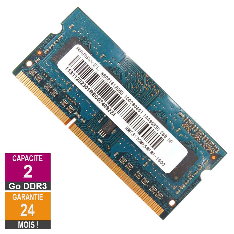 Barrette Mémoire 2Go RAM DDR3 Ramaxel...