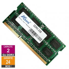 Barrette Mémoire 2Go RAM DDR3 ASint SSZ3128M8-EDJ1D SO-DIMM PC3-10600 1333MHz 2Rx8