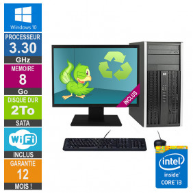PC HP Pro 6300 MT Core i3-3220 3.30GHz 8Go/2To Wifi W10 + Ecran 22