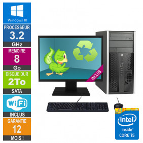 PC HP Pro 6300 MT Core i5-3470 3.20GHz 8Go/2To Wifi W10 + Ecran 24