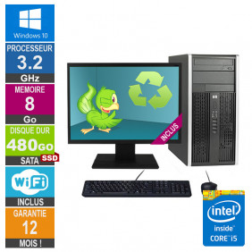 PC HP Pro 6300 MT Core i5-3470 3.20GHz 8Go/480Go SSD Wifi W10 + Ecran 20