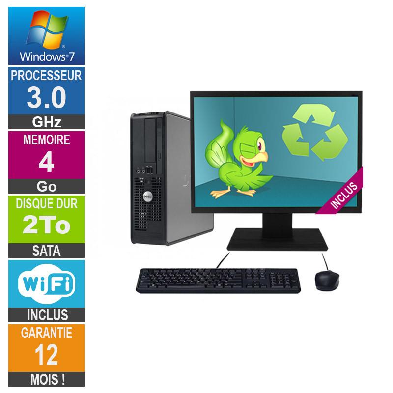 PC Dell Optiplex 760 SFF Core 2 Duo E8400 3GHz 4GB/2TB Wifi W7 + Screen 22