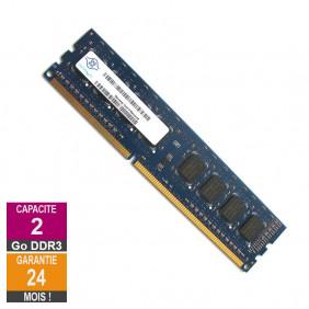 Barrette Mémoire 2Go RAM DDR3 Nanya NT2GC64B88G0NF-CG DIMM PC3-10600U
