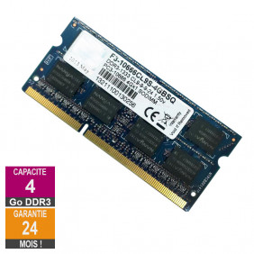 Barrette Mémoire 4Go RAM DDR3 Transcend F3-10666CL9S-4GBSQ SO-DIMM PC3-10600S