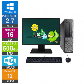 PC Dell Optiplex 790 DT G630 2.70GHz 16Go/500Go Wifi W10 + Ecran 22