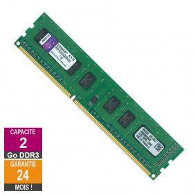 Barrette Mémoire 2Go RAM DDR3 Kingston KVR1333D3S8N9H/2G DIMM PC3-10600U