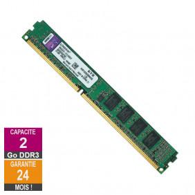 Barrette Mémoire 2Go RAM DDR3 Kingston KVR1333D3S8N9/2G LP DIMM PC3-10600U
