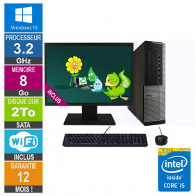 PC Dell Optiplex 7010 DT Core i5-3470 3.20GHz 8Go/2To Wifi W10 + Ecran 19