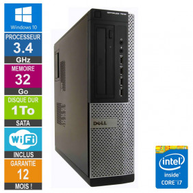 PC Dell 7010 DT Core i7-3770 3.40GHz 32Go/1To Wifi W10