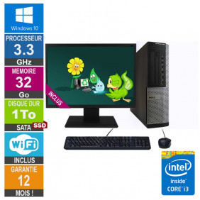 PC Dell 7010 DT Core i3-3220 3.30GHz 32Go/1To SSD Wifi W10 + Ecran 22