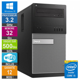 PC Dell Tour Optiplex 9020 i5-4570 3.20GHz 32Go/500Go Wifi W10