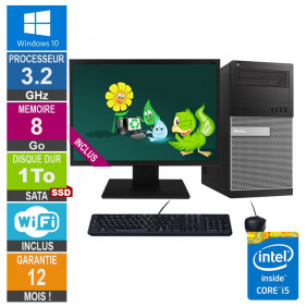 PC Dell Tour Optiplex 9020 i5-4570 3.20GHz 8Go/1To SSD Wifi W10 + Ecran 20