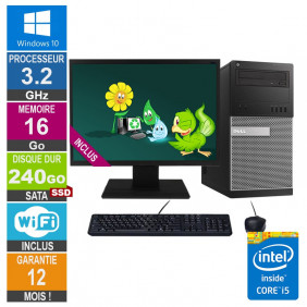 PC Dell Tour Optiplex 9020 i5-4570 3.20GHz 16Go/240Go SSD Wifi W10 + Ecran 20
