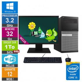PC Dell Tour Optiplex 9020 i5-4570 3.20GHz 32Go/1To SSD Wifi W10 + Ecran 22