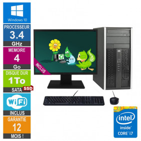 PC HP Pro 6300 MT Core i7-3770 3.40GHz 4Go/1To SSD Wifi W10 + Ecran 24